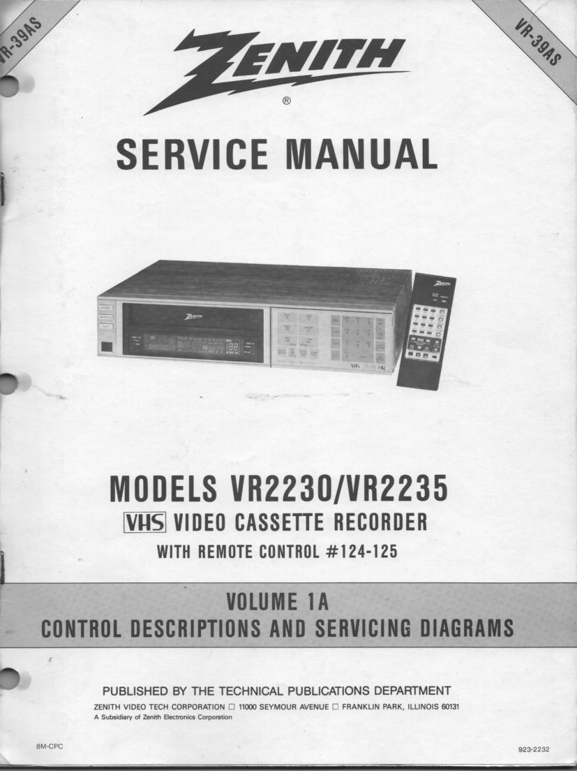 VR2230 VR2235 VCR Control Descriptions Service Diagram Manual VR39AS