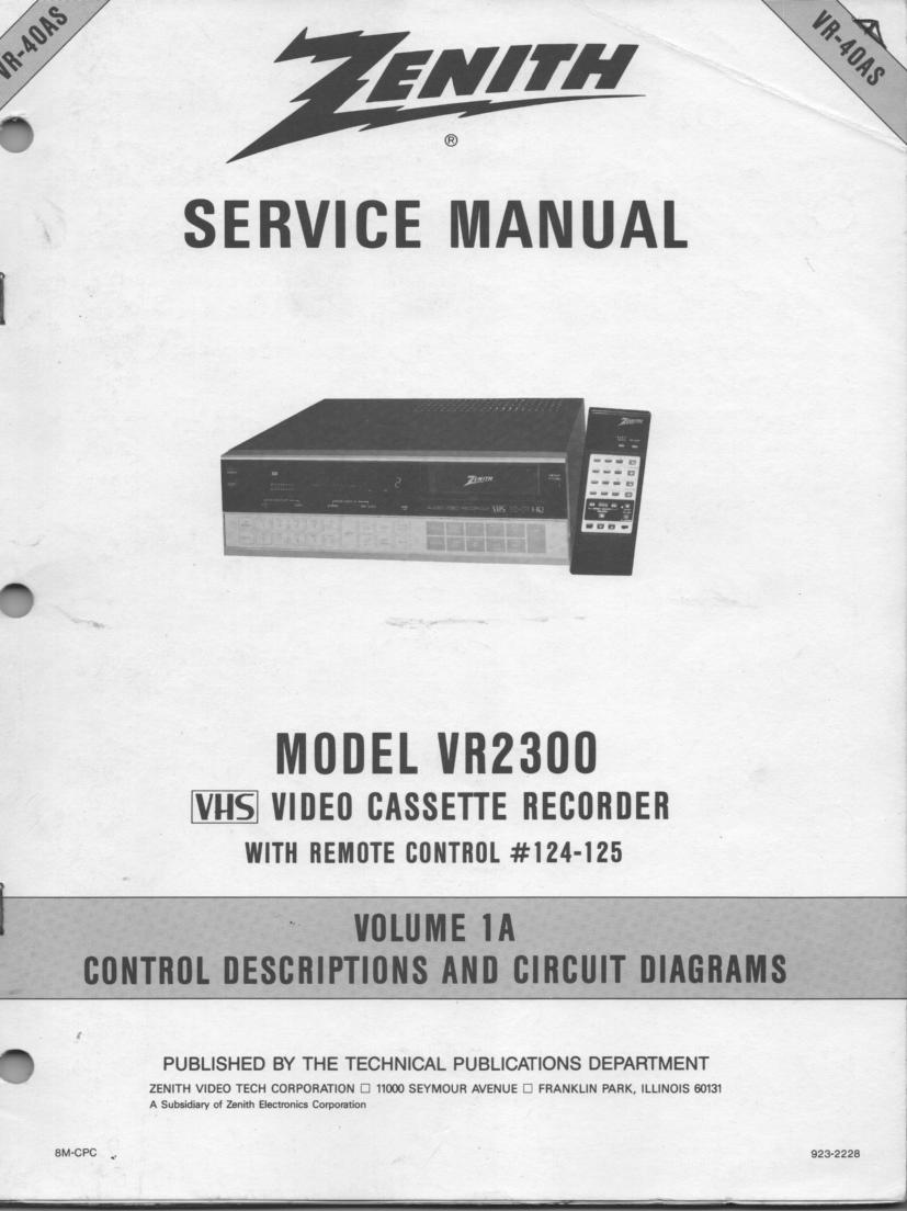 VR2300 VCR Control Descriptions Service Diagram Manual VR40AS