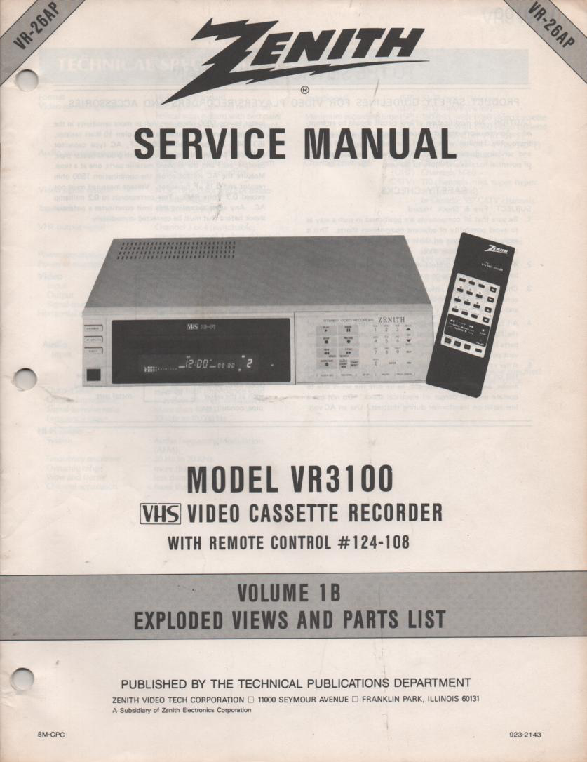 VR3100 VCR Exploded Views and Parts Service Manual VR26AP
