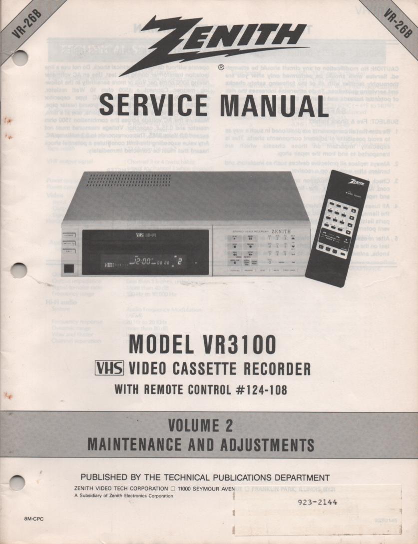 VR3100 VCR Alignment Service Manual VR26B