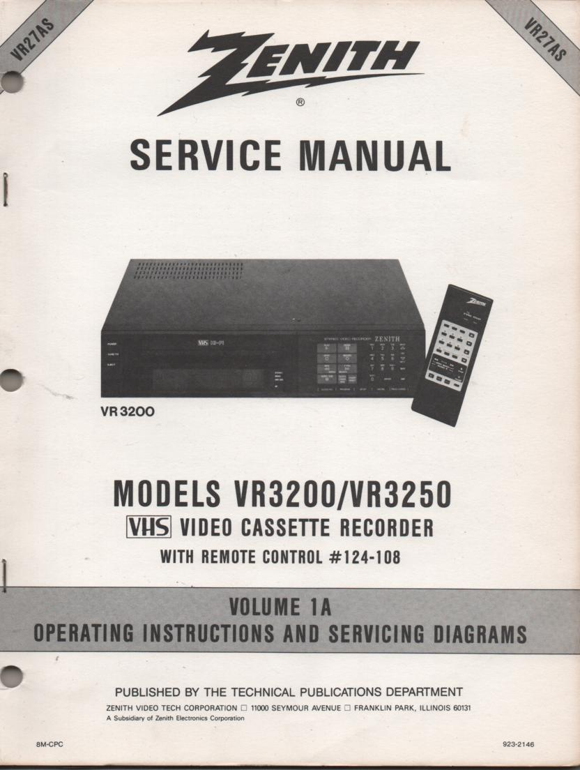 VR3200 VR3250 VCR Operating Instruction Manual..VR27AS.. Front section of service manual in the owners manual..