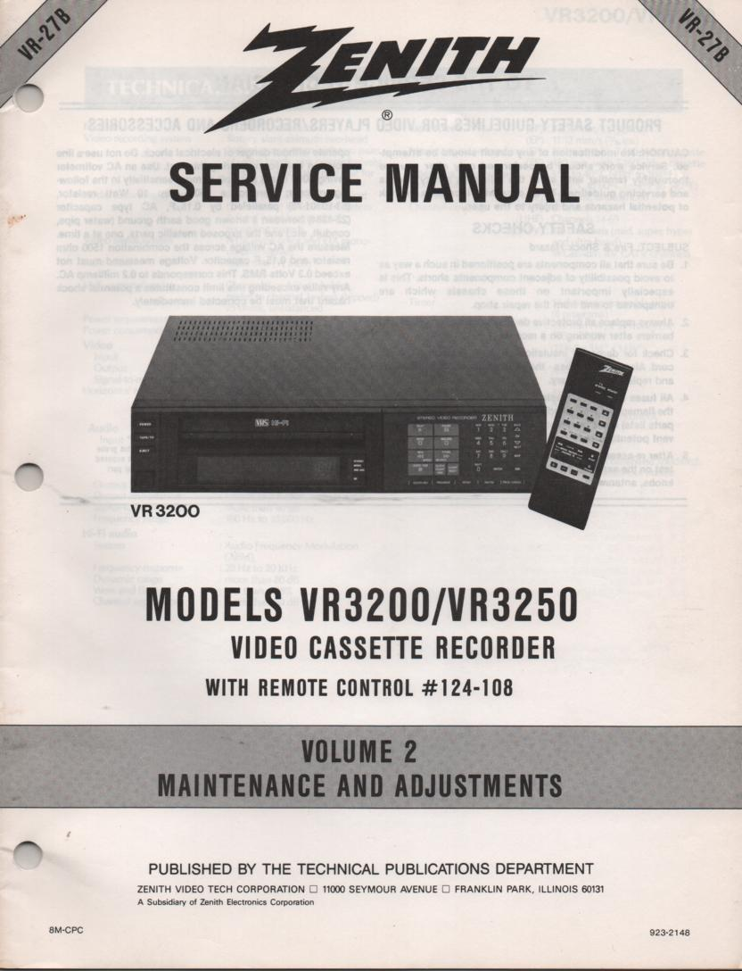 VR3200 VR3250 VCR Exploded Views and Parts Service Manual VR27AP