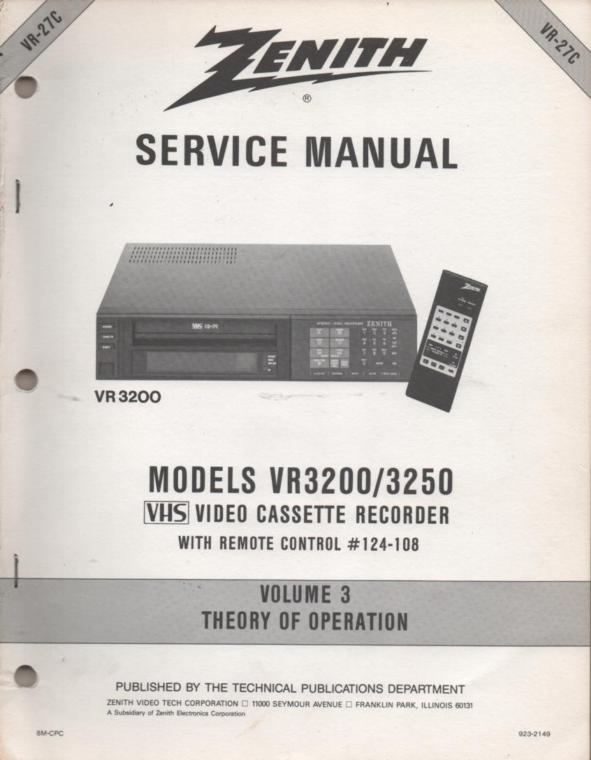 VR3200 VR3250 VCR Theory of Operation Technical Service Manual VR27C  This is not an owners manual..