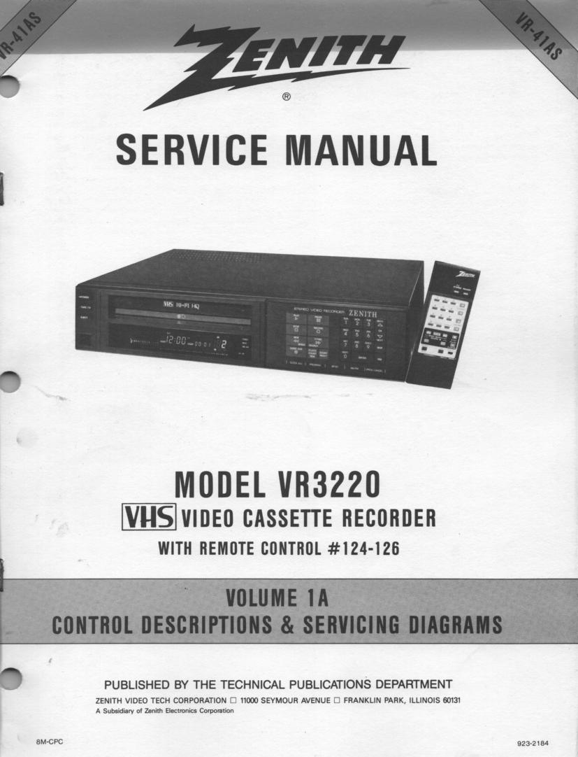 VR3220 VCR Service Diagram Manual VR41AS