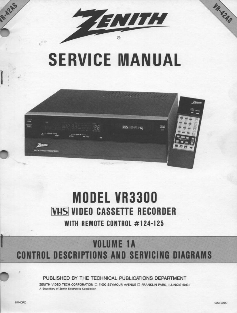VR3300 VCR Service Diagram Manual VR42AS