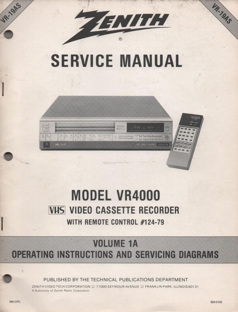VR4000 VCR Operating Instruction Manual VR19AS.. Front section of service manual is the owners manual..