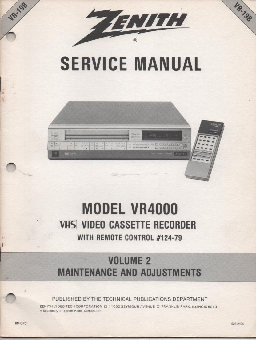 VR4000 VCR Alignment Service Manual VR19B
