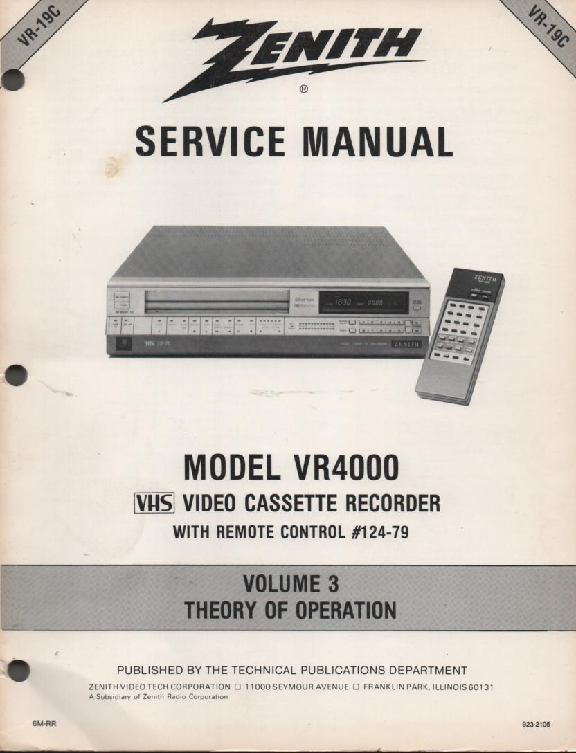 VR4000 VCR Theory of Operation Technical Service Manual VR19C  This is not an owners manual..