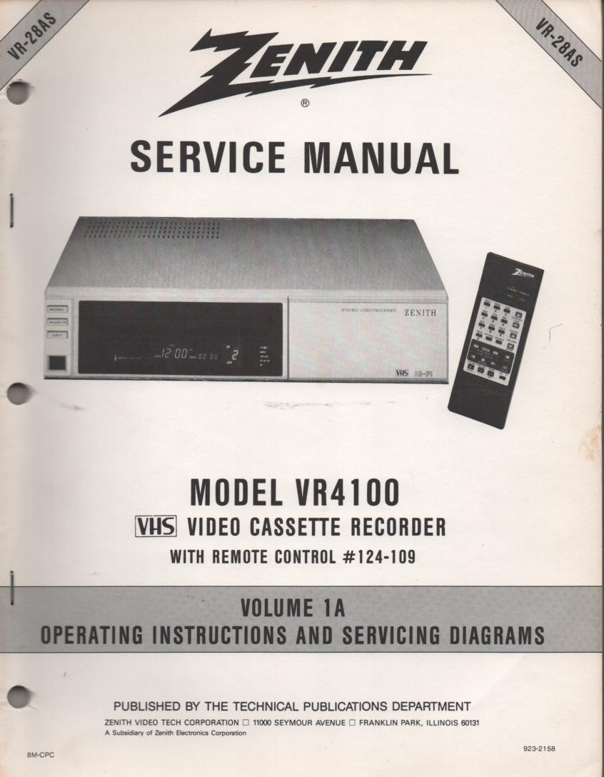 VR4100 VCR Operating Instruction Manual VR28AS.. Front section of service manual is the owners manual..