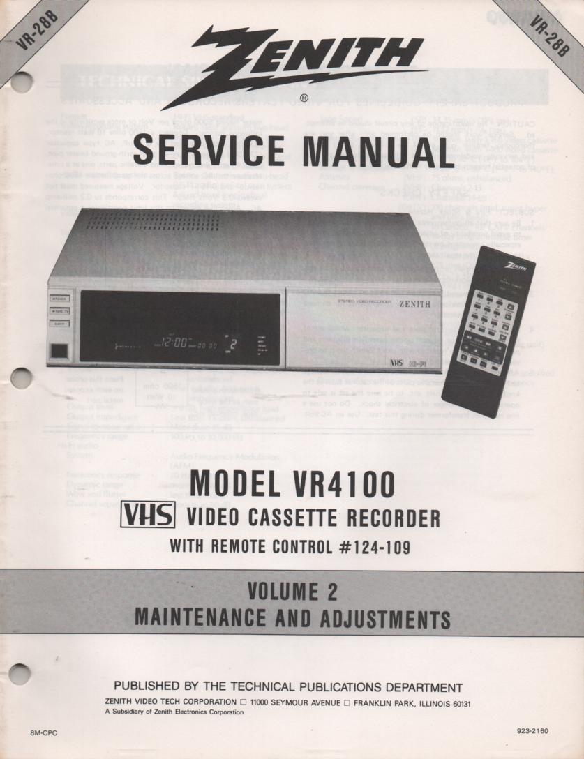 VR4100 VCR Alignment Service Manual VR28B