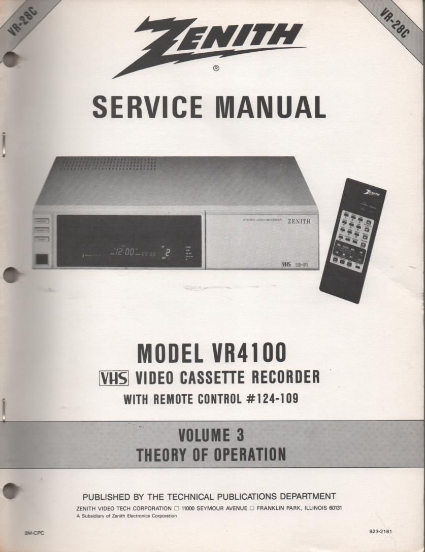 VR4100 VCR Theory of Operation Technical Service Manual VR28C  This is not an owners manual..