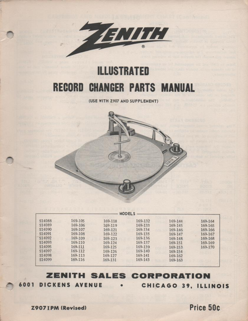 S14088 S14089 S14090 S14091 S14092 Record Changer Service Manual Z907IPM