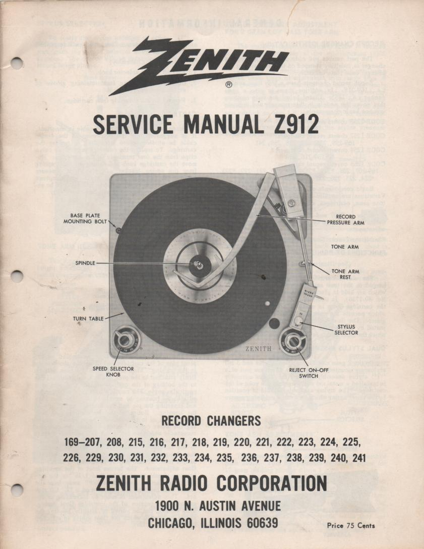 169-207 169-208 169-215 169-216 Record Changer Service Manual Z912
