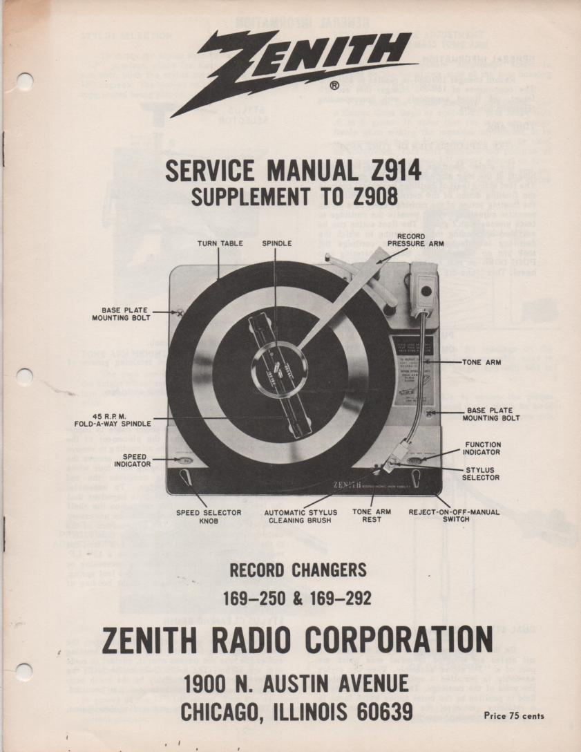169-250  169-292 Record Changer Service Manual Z914