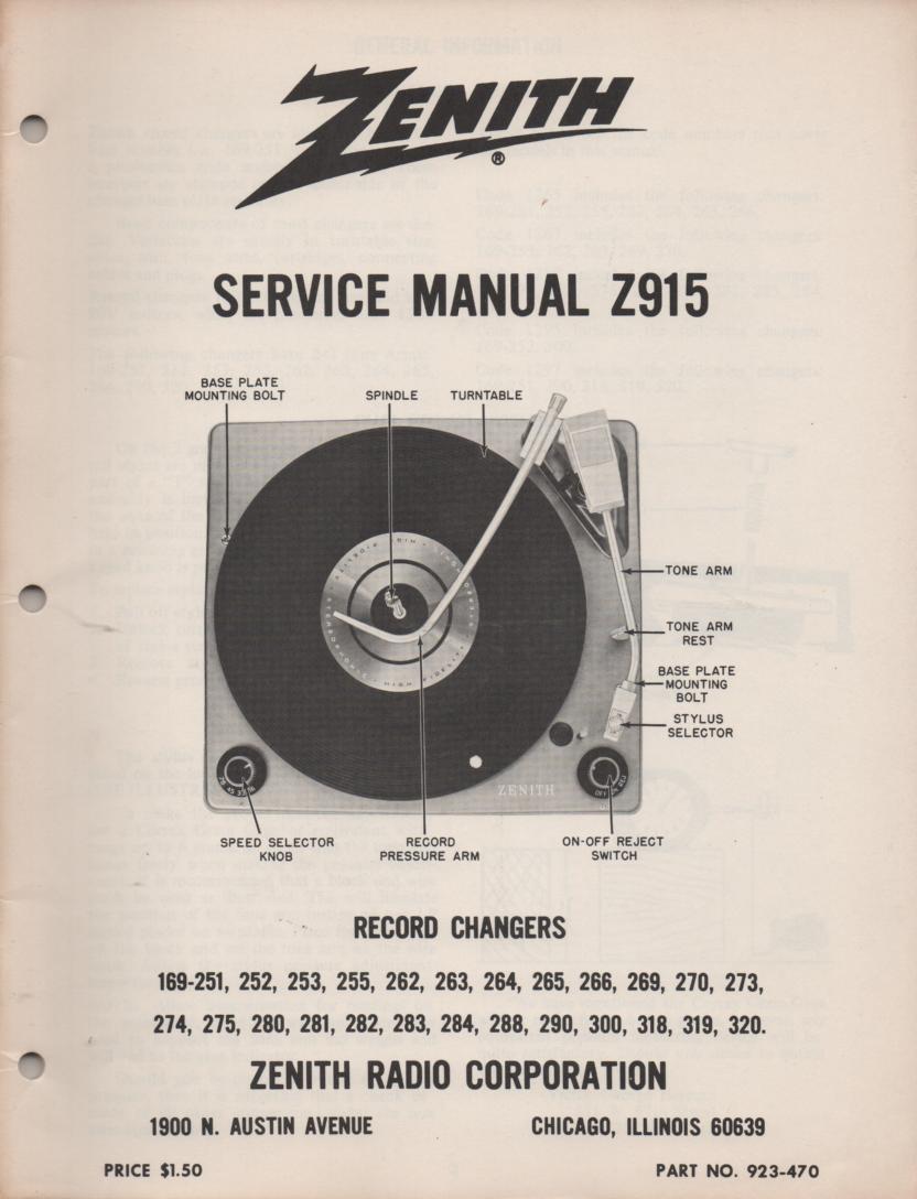 169-251 169-252 169-253 169-254 Record Changer Service Manual Z915