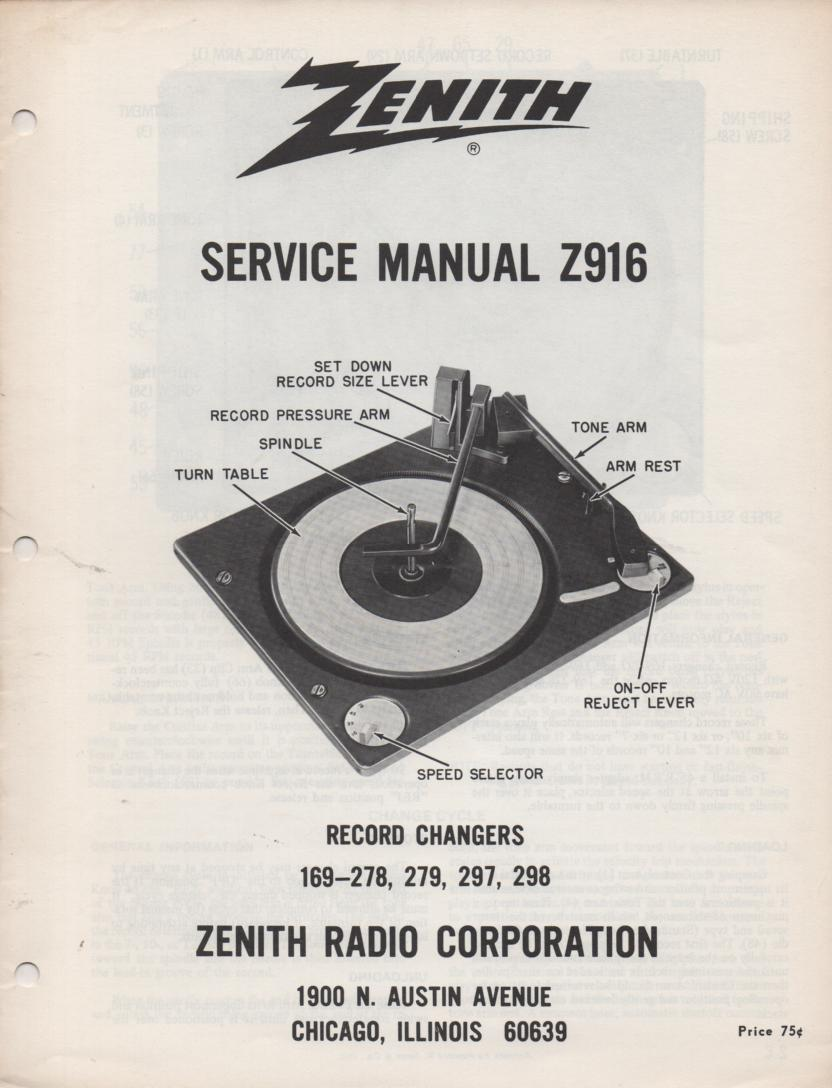 169-278 169-279 169-297 169-298 Record Changer Service Manual Z916