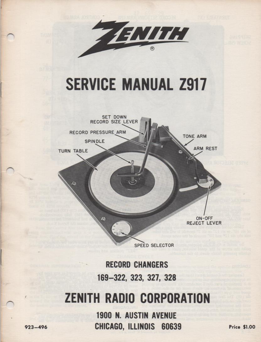 169-322 169-323 169-327 169-328 Record Changer Service Manual Z917