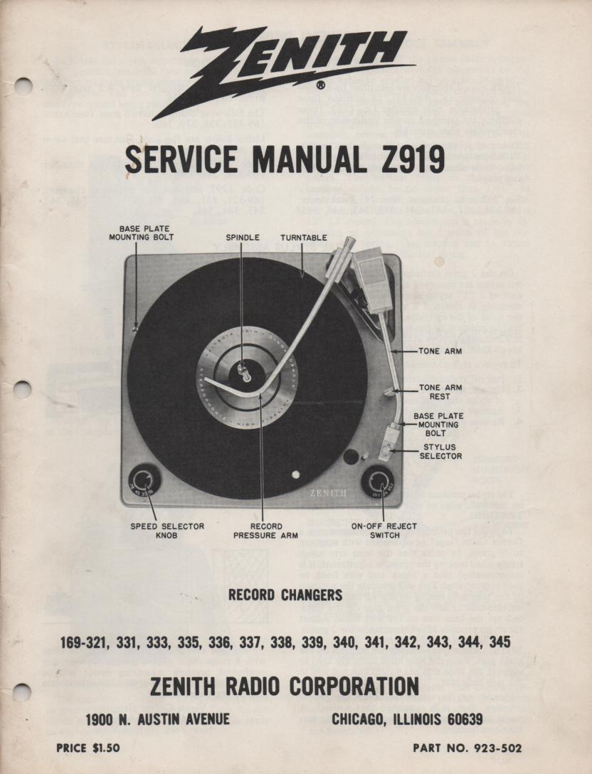 169-321 169-331 169-333 169-335 Record Changer Service Manual Z919