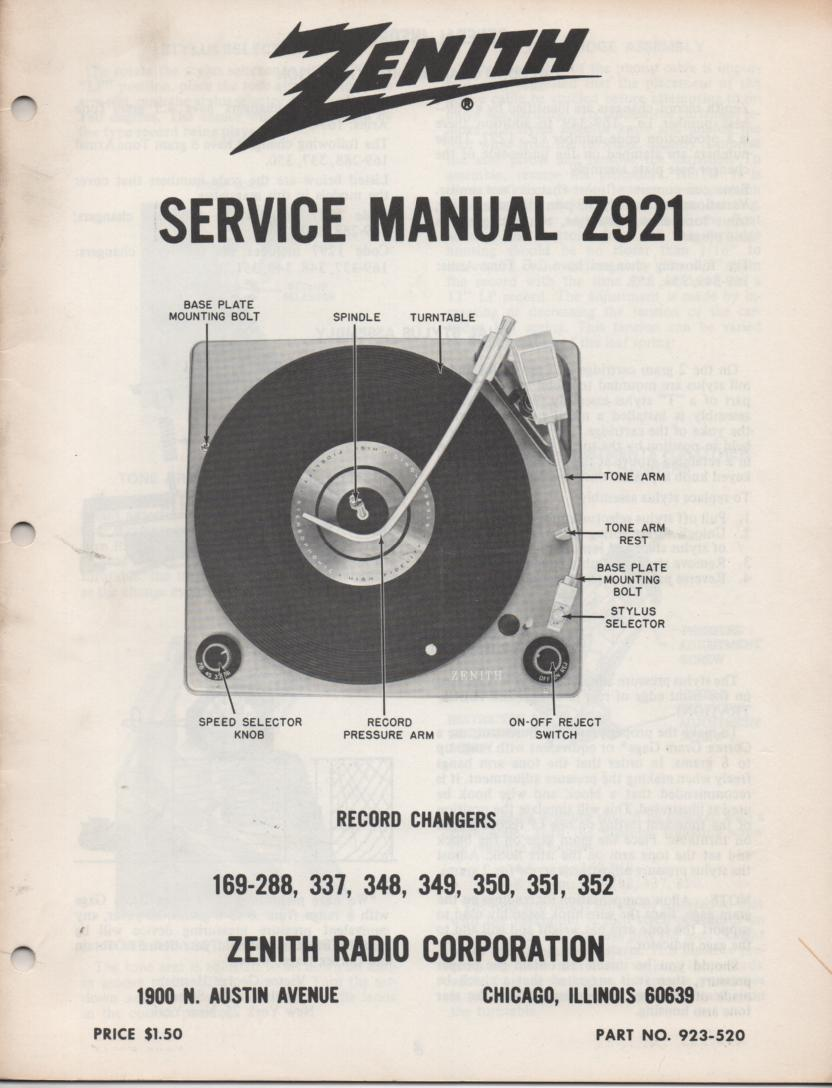 169-288 169-337 169-348 169-349 Record Changer Service Manual Z921