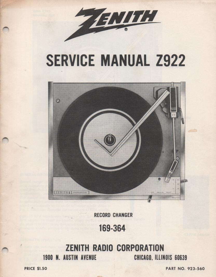 169-364 Record Changer Service Manual Z922
