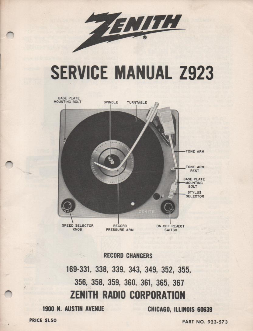 169-331 169-338 169-339 169-343 Record Changer Service Manual Z923